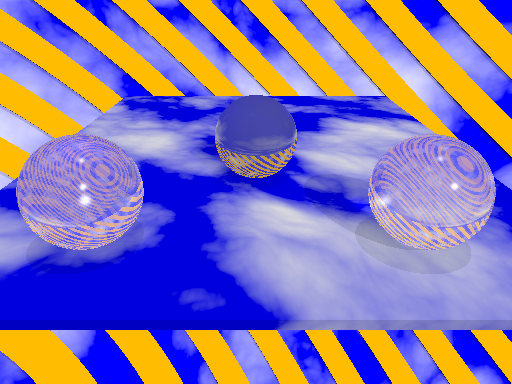 Three reflective glass balls balance on a floor made of sky. Yellow slanted bars separate them from a cloudy world.