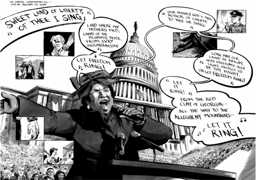 "Aretha Franklin sings ""My Country 'Tis of Thee"" at Obama's inauguration while small panels of the aftermath of racial violence against the freedom riders overlay the scene."